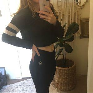Zara cropped black sweatshirt striped white sleeve